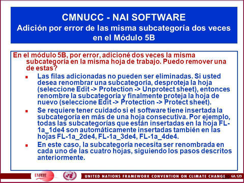 CMNUCC - NAI SOFTWARE Adición por error de las misma subcategoría dos veces en el Módulo 5B