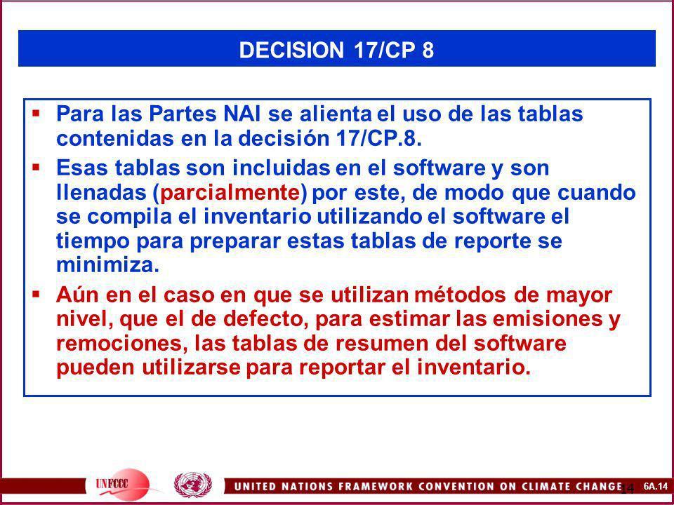 DECISION 17/CP 8 Para las Partes NAI se alienta el uso de las tablas contenidas en la decisión 17/CP.8.
