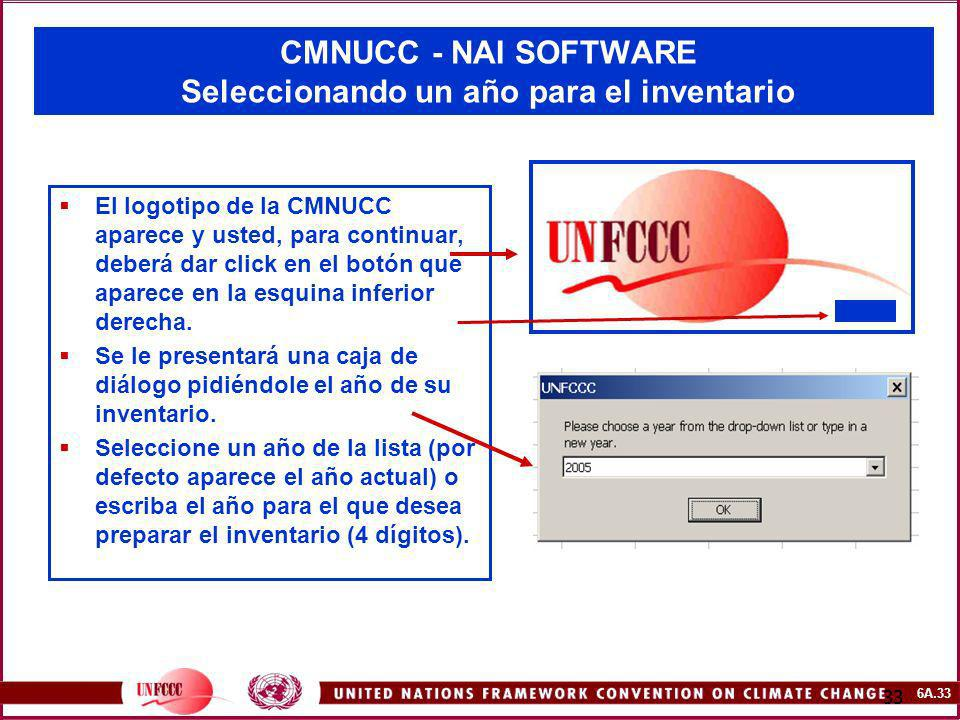 CMNUCC - NAI SOFTWARE Seleccionando un año para el inventario