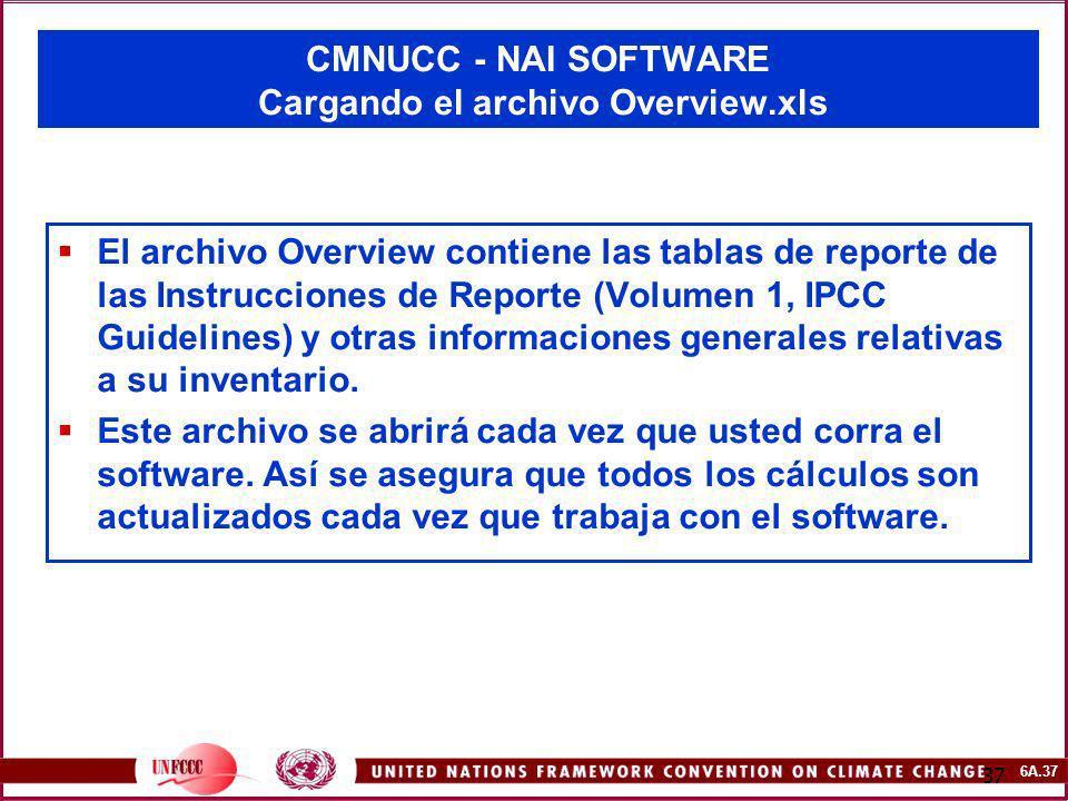 CMNUCC - NAI SOFTWARE Cargando el archivo Overview.xls