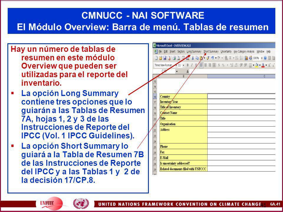 CMNUCC - NAI SOFTWARE El Módulo Overview: Barra de menú