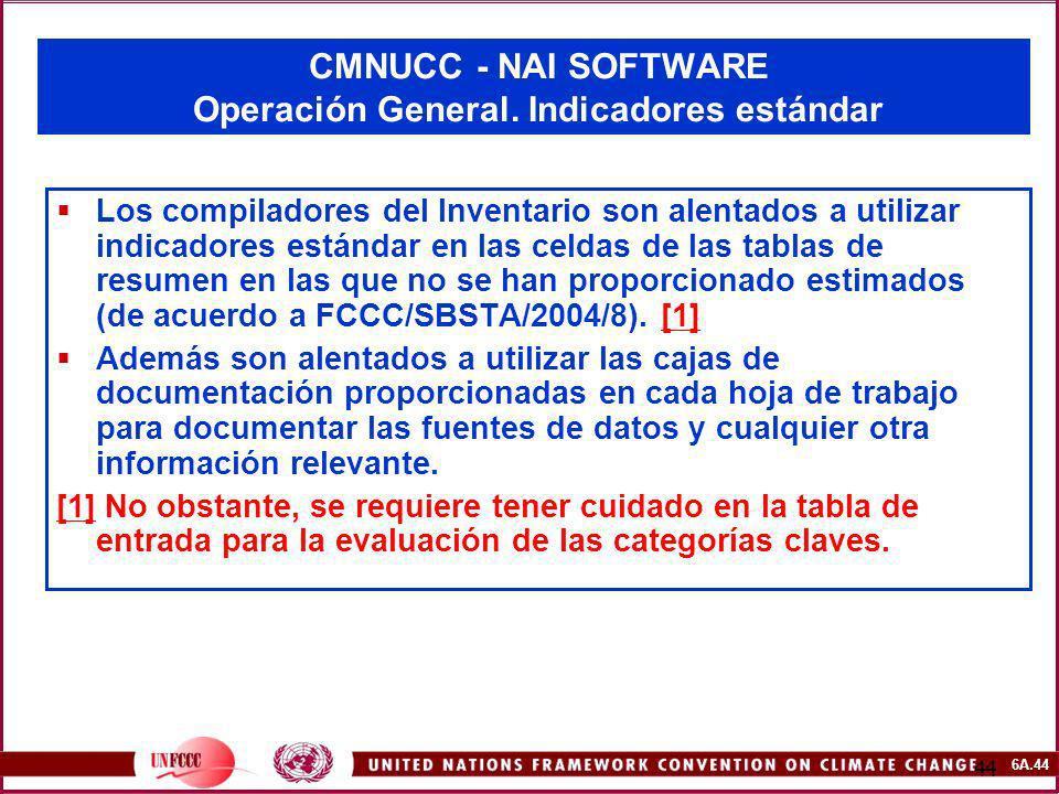 CMNUCC - NAI SOFTWARE Operación General. Indicadores estándar