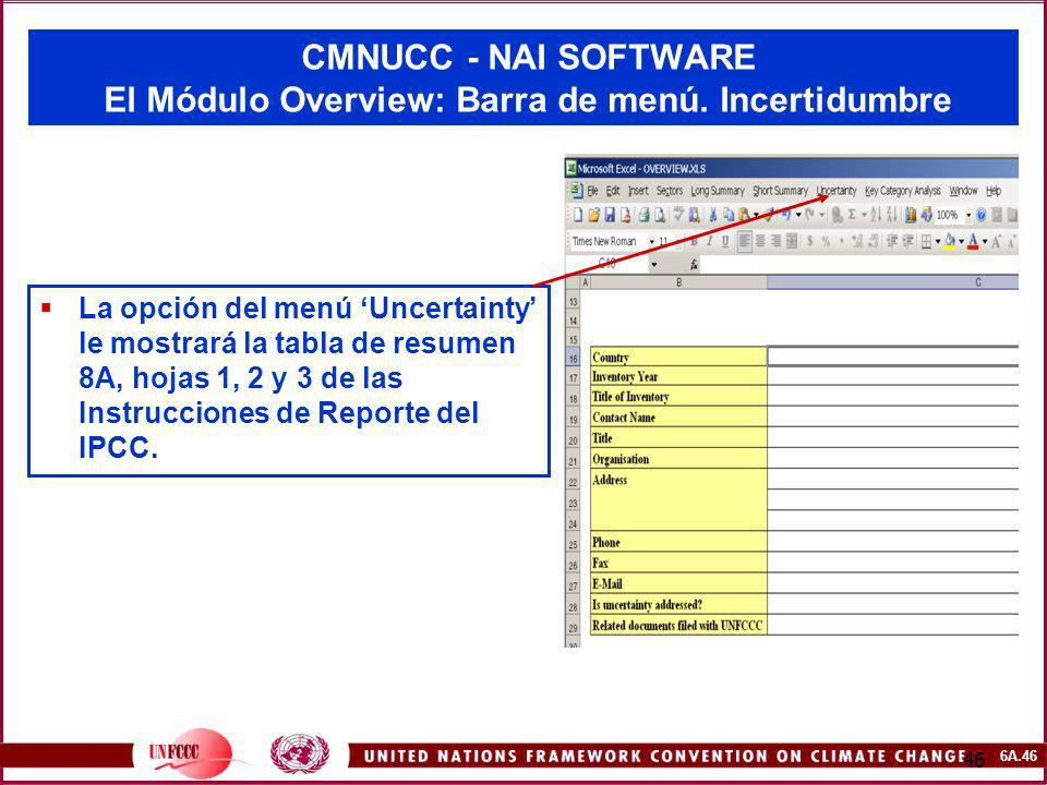 CMNUCC - NAI SOFTWARE El Módulo Overview: Barra de menú. Incertidumbre