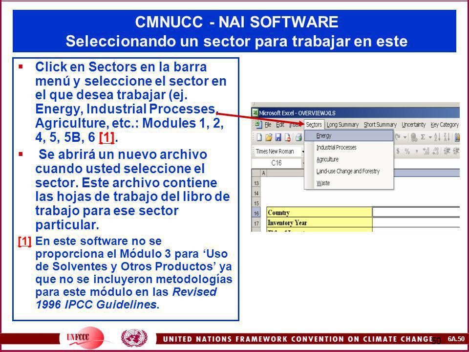 CMNUCC - NAI SOFTWARE Seleccionando un sector para trabajar en este