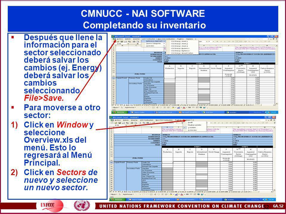 CMNUCC - NAI SOFTWARE Completando su inventario