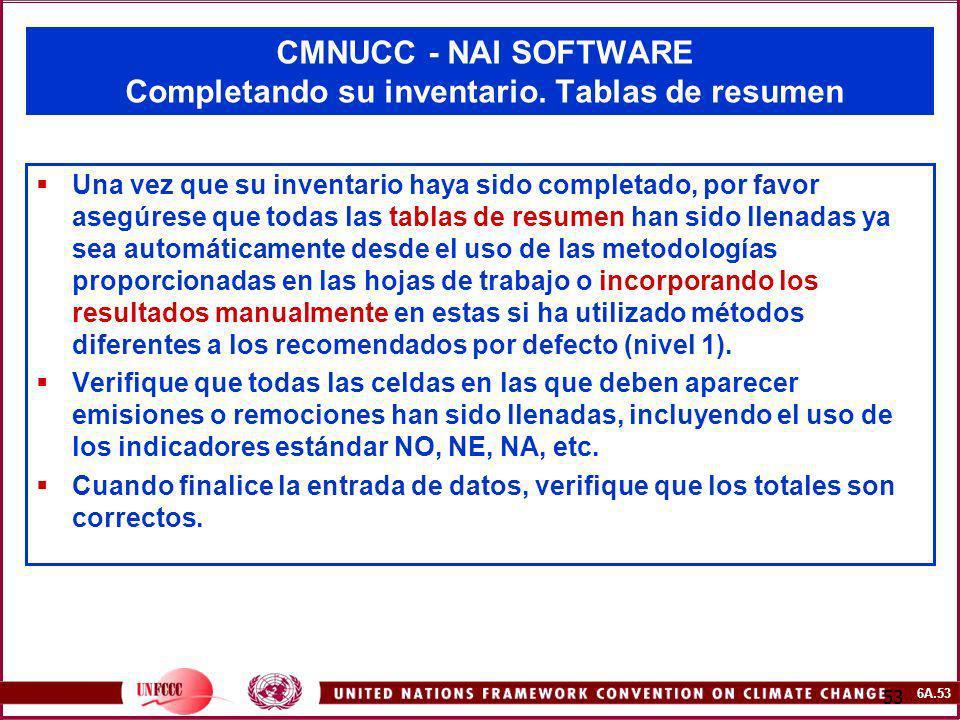CMNUCC - NAI SOFTWARE Completando su inventario. Tablas de resumen