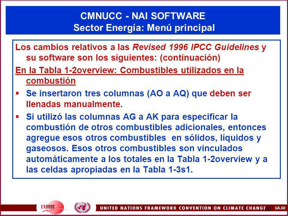 CMNUCC - NAI SOFTWARE Sector Energía: Menú principal