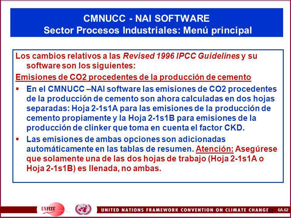 CMNUCC - NAI SOFTWARE Sector Procesos Industriales: Menú principal