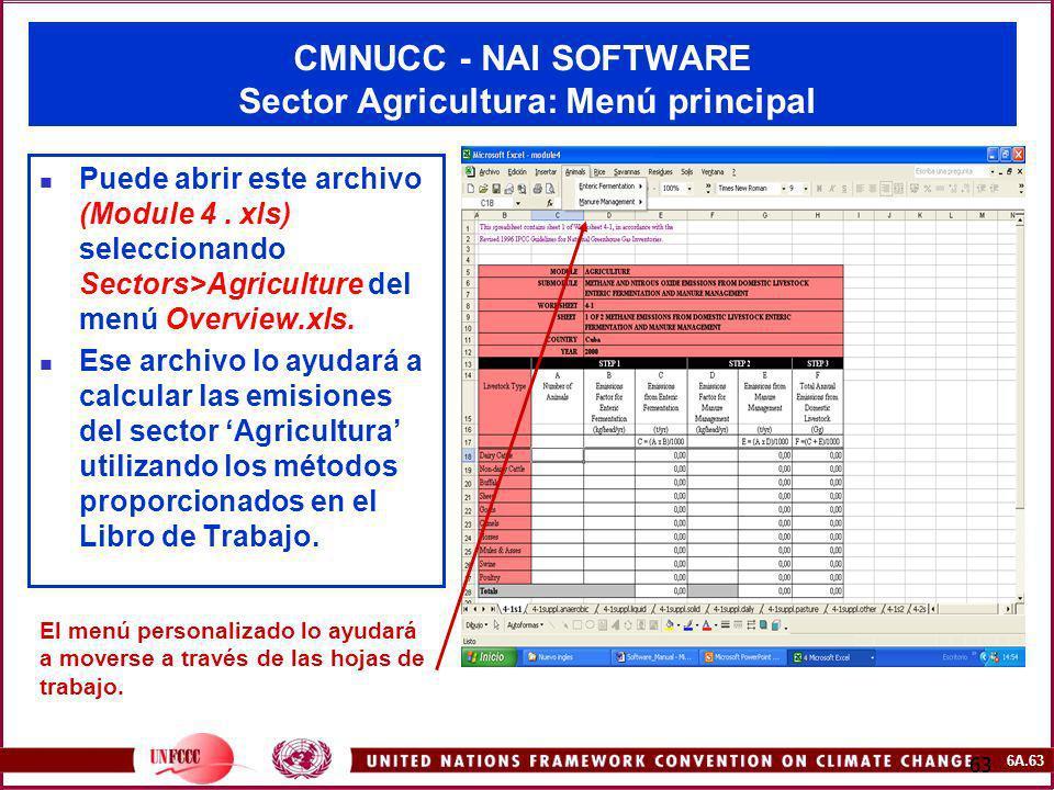 CMNUCC - NAI SOFTWARE Sector Agricultura: Menú principal