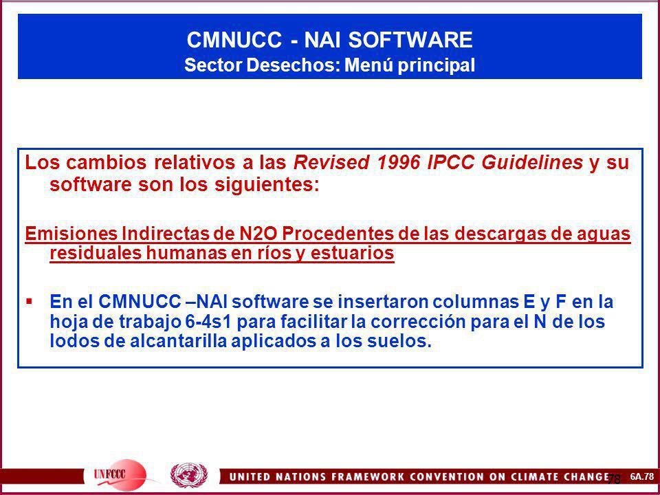 CMNUCC - NAI SOFTWARE Sector Desechos: Menú principal