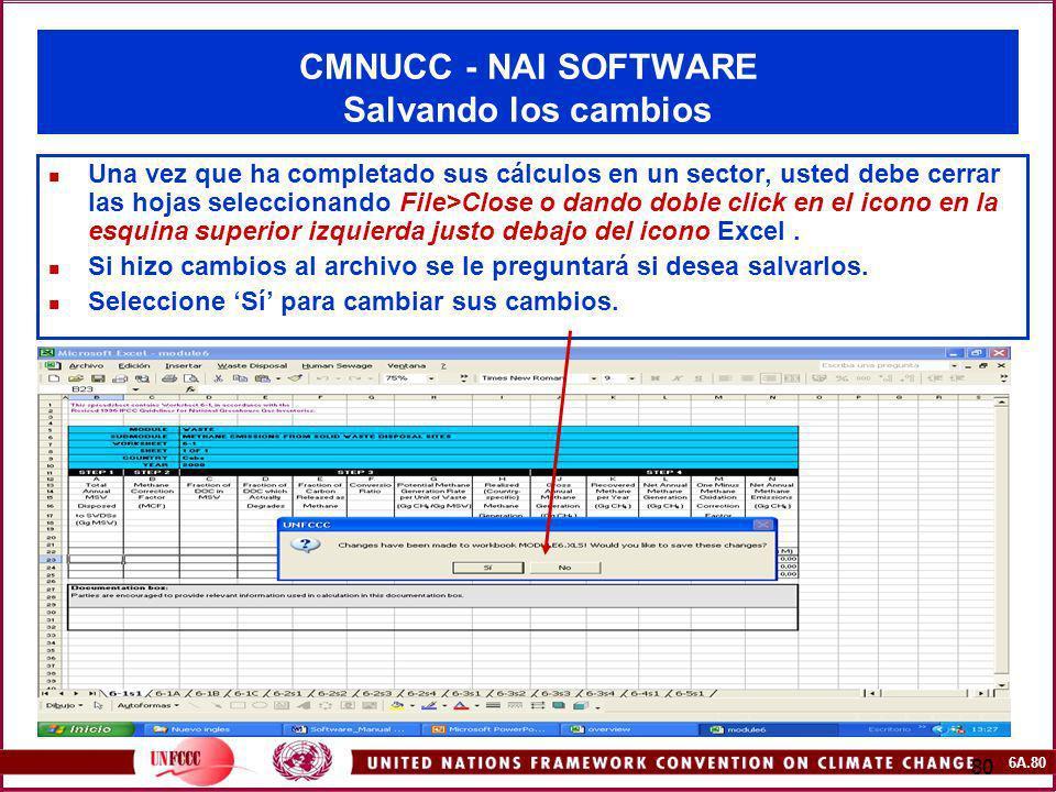 CMNUCC - NAI SOFTWARE Salvando los cambios