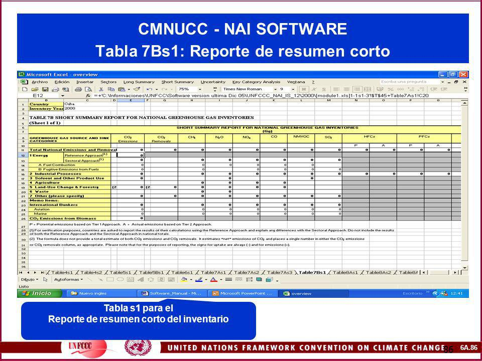CMNUCC - NAI SOFTWARE Tabla 7Bs1: Reporte de resumen corto