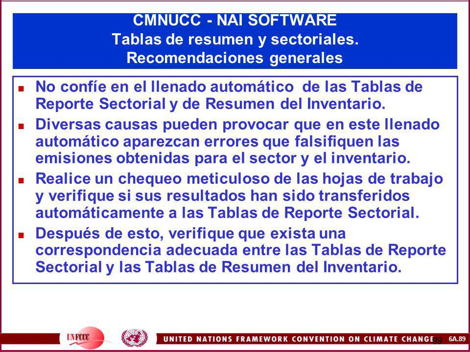 CMNUCC - NAI SOFTWARE Tablas de resumen y sectoriales