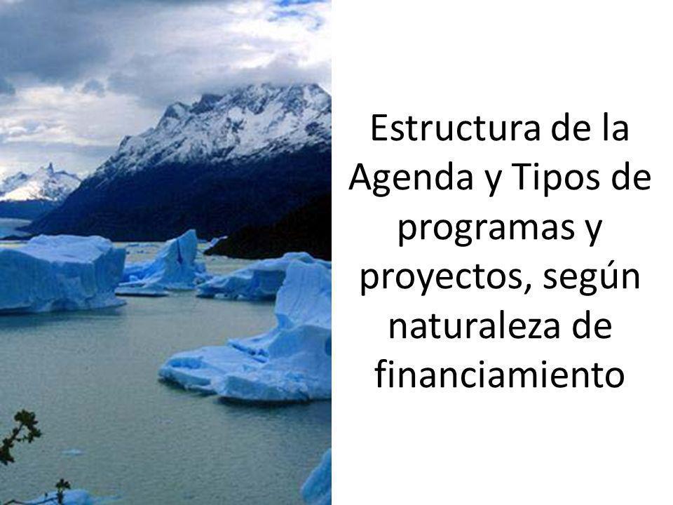 Estructura de la Agenda y Tipos de programas y proyectos, según naturaleza de financiamiento
