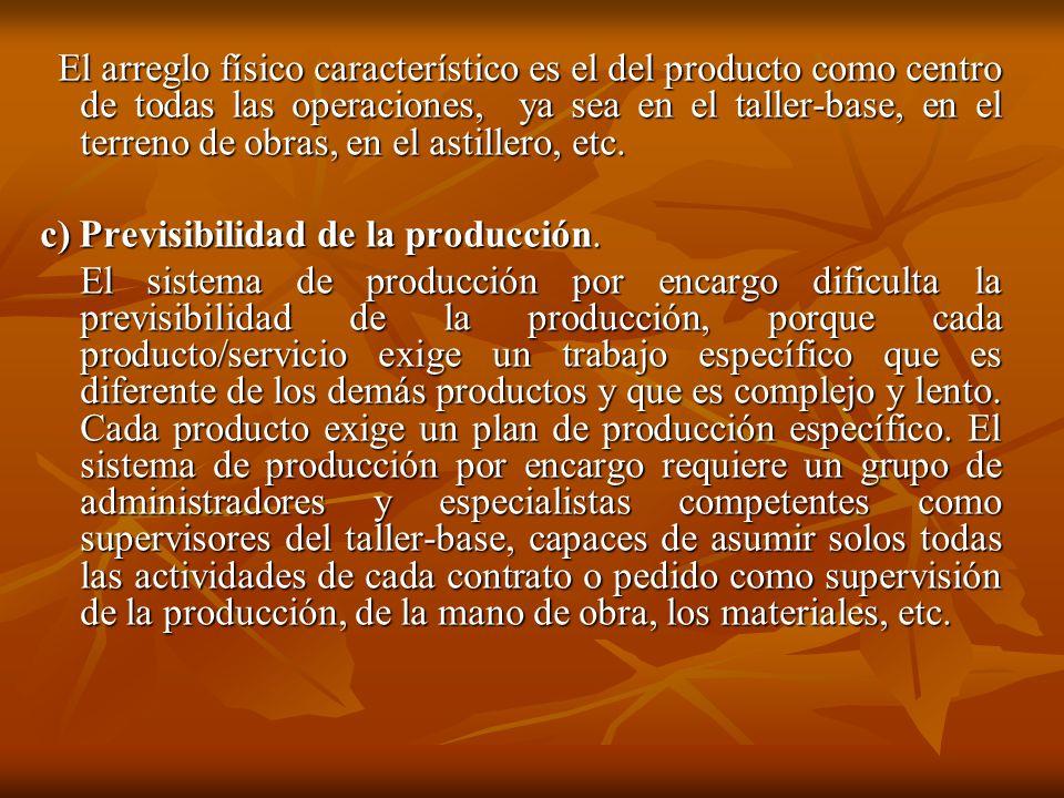 c) Previsibilidad de la producción.