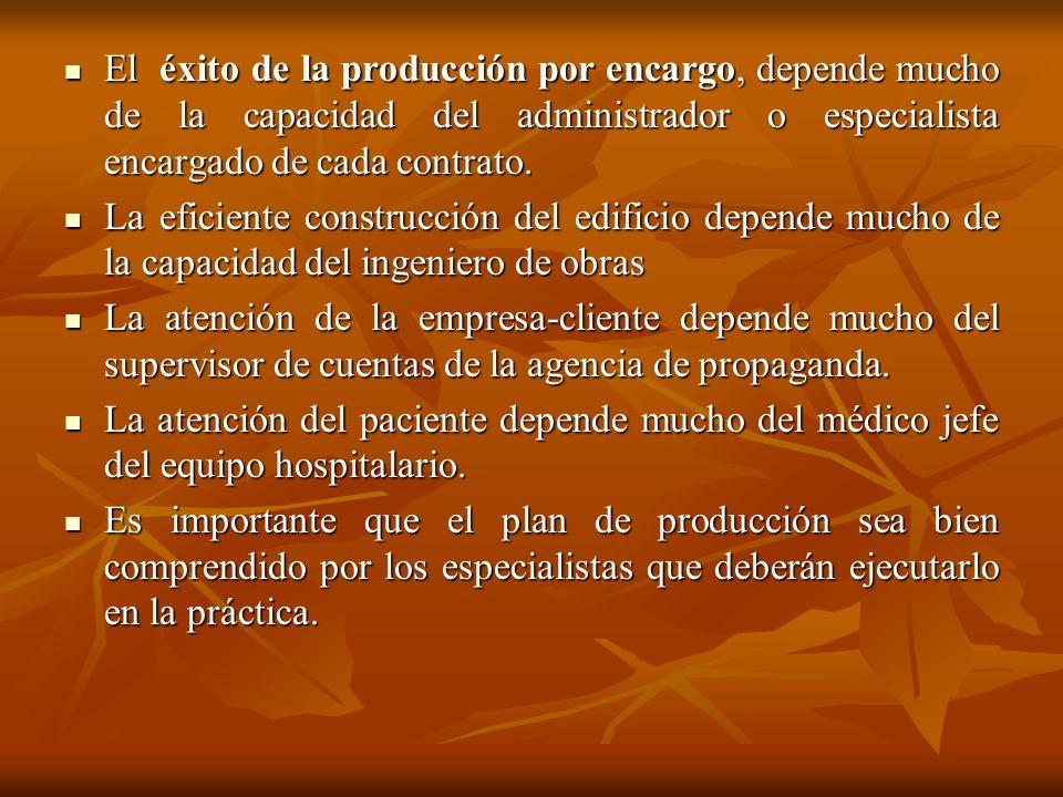 El éxito de la producción por encargo, depende mucho de la capacidad del administrador o especialista encargado de cada contrato.