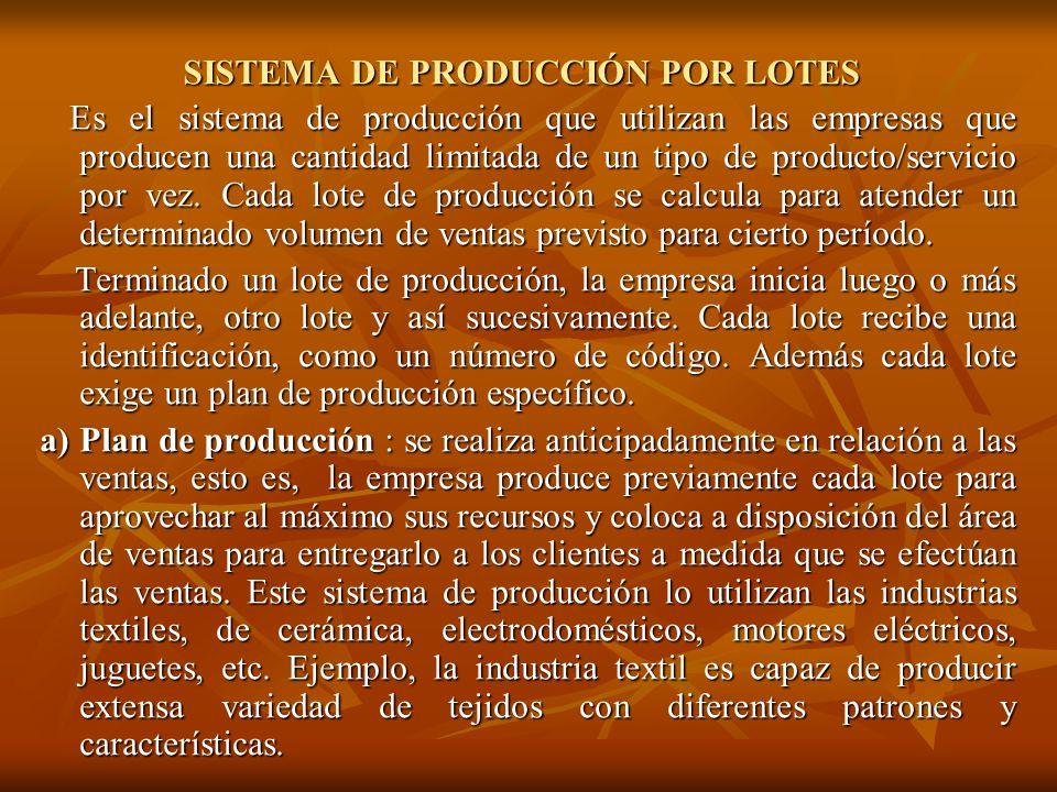 SISTEMA DE PRODUCCIÓN POR LOTES