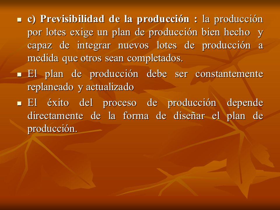 c) Previsibilidad de la producción : la producción por lotes exige un plan de producción bien hecho y capaz de integrar nuevos lotes de producción a medida que otros sean completados.