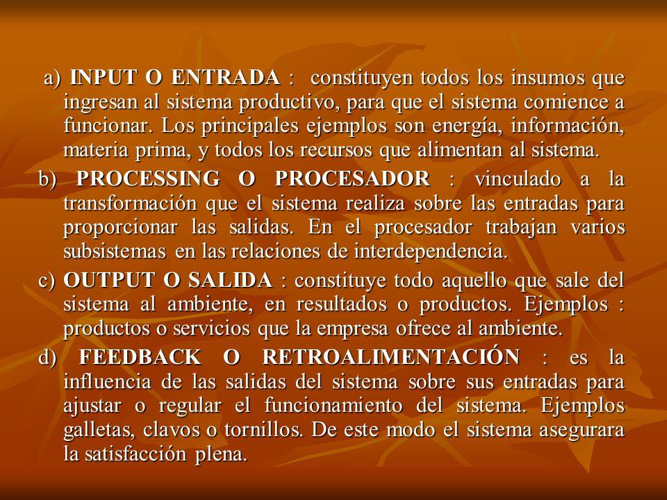 a) INPUT O ENTRADA : constituyen todos los insumos que ingresan al sistema productivo, para que el sistema comience a funcionar. Los principales ejemplos son energía, información, materia prima, y todos los recursos que alimentan al sistema.