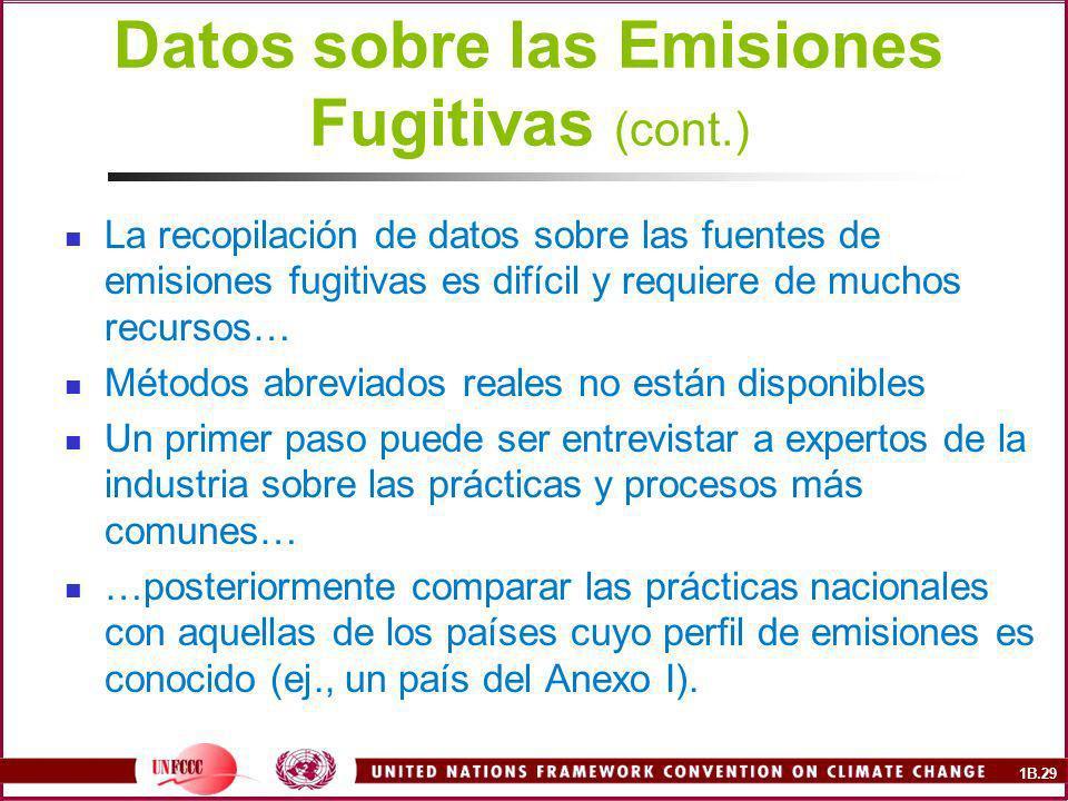 Datos sobre las Emisiones Fugitivas (cont.)