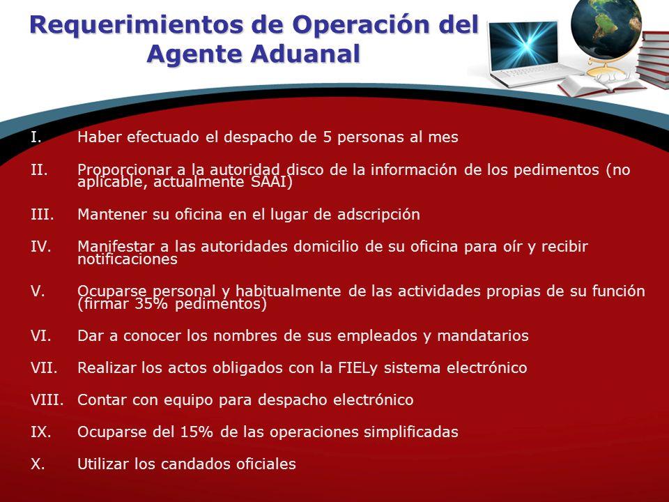 Requerimientos de Operación del Agente Aduanal