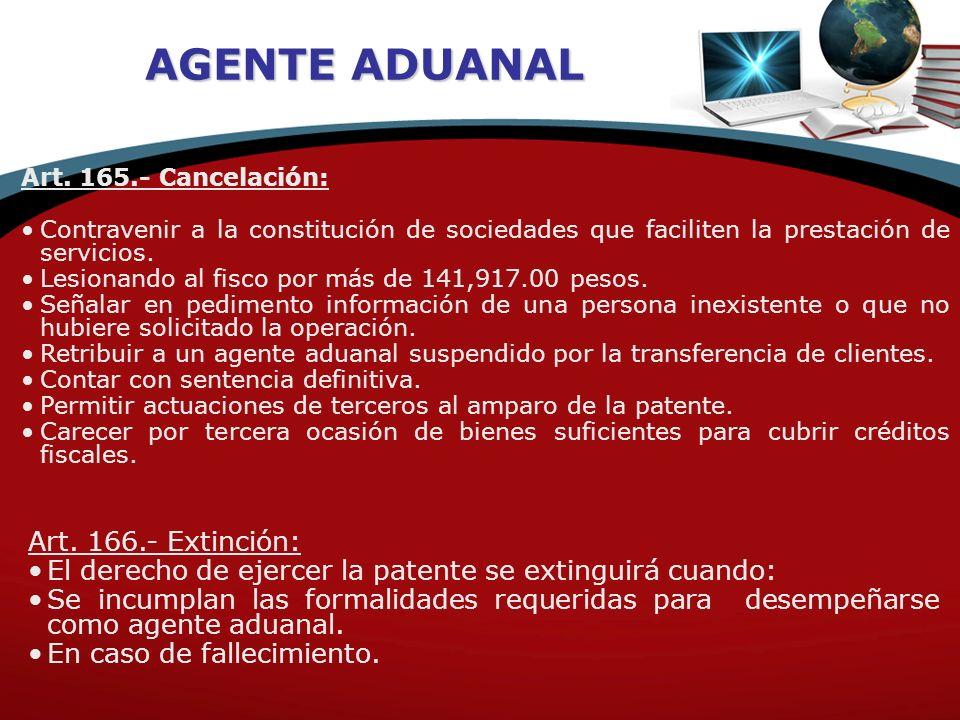 AGENTE ADUANAL Art. 166.- Extinción: