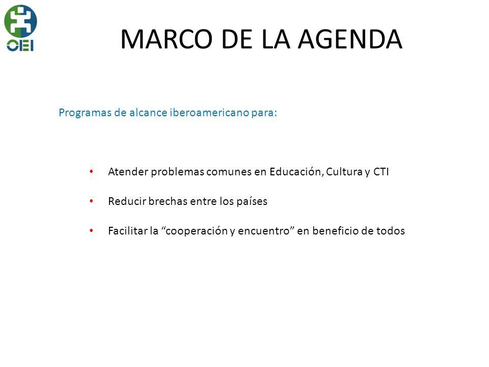 MARCO DE LA AGENDA Programas de alcance iberoamericano para: