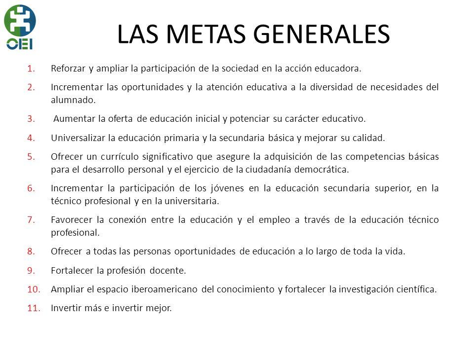 LAS METAS GENERALES Reforzar y ampliar la participación de la sociedad en la acción educadora.