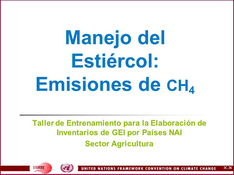 Manejo del Estiércol: Emisiones de CH4