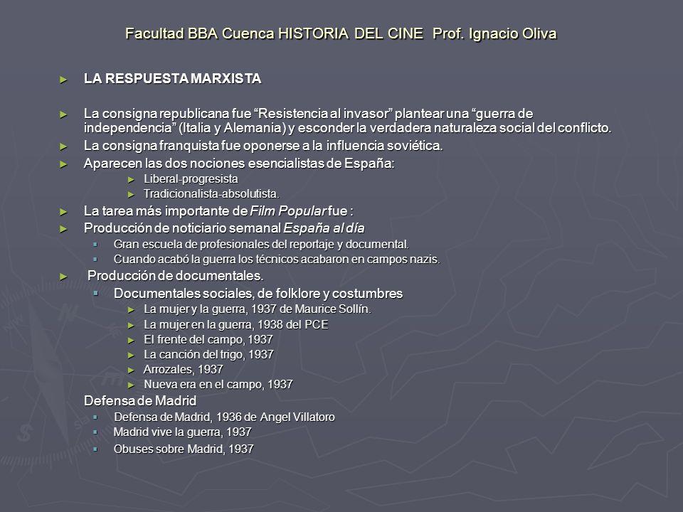 Facultad BBA Cuenca HISTORIA DEL CINE Prof. Ignacio Oliva