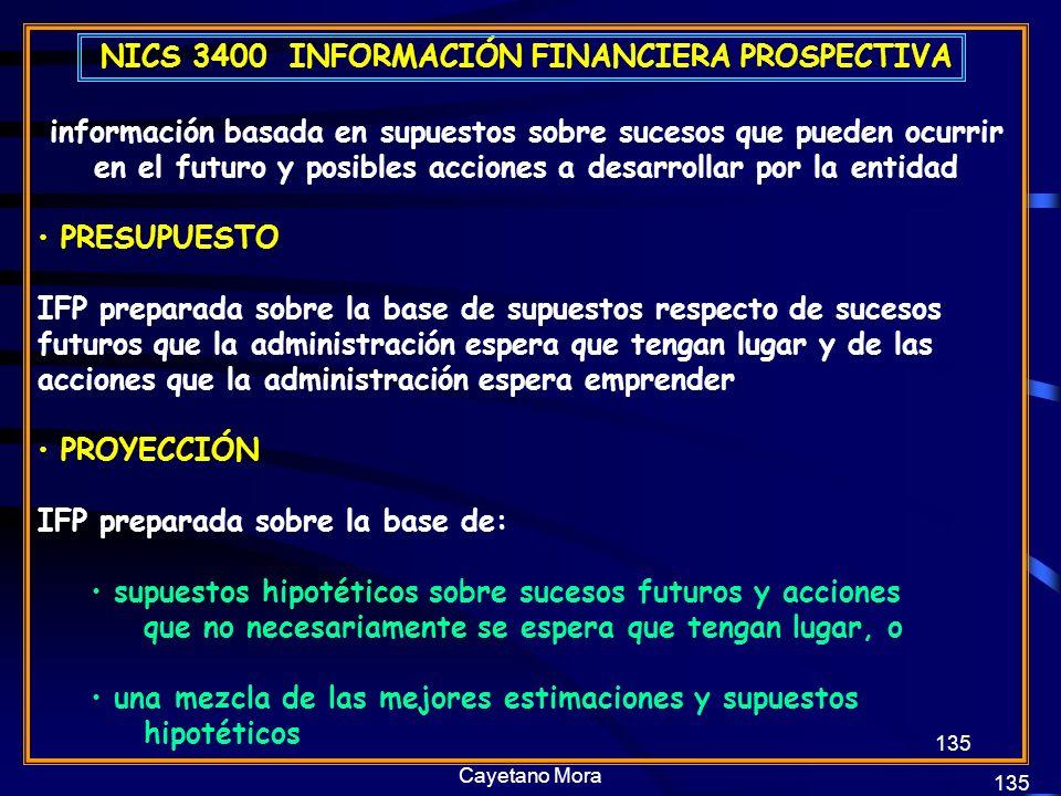 NICS 3400 INFORMACIÓN FINANCIERA PROSPECTIVA
