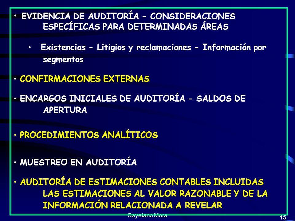 EVIDENCIA DE AUDITORÍA - CONSIDERACIONES