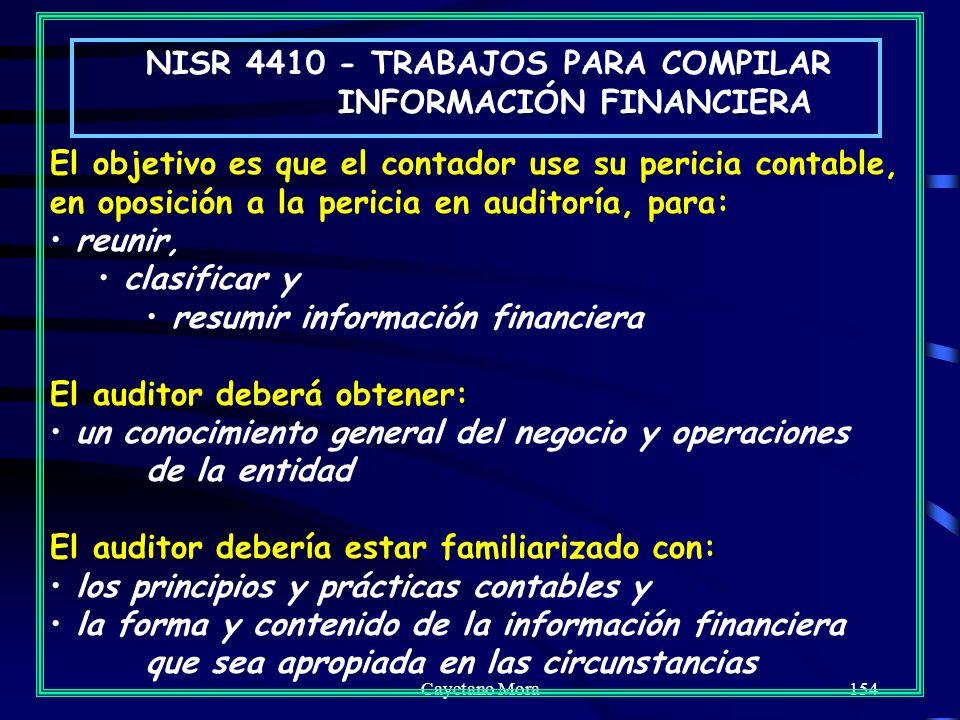 NISR 4410 - TRABAJOS PARA COMPILAR INFORMACIÓN FINANCIERA