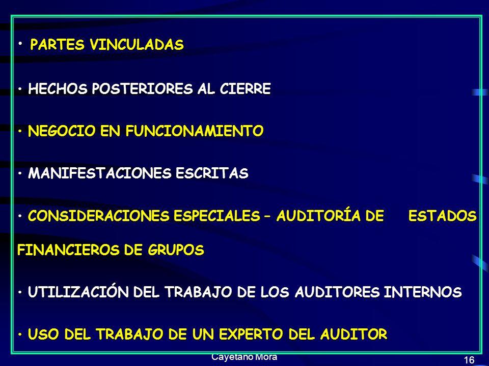 PARTES VINCULADAS HECHOS POSTERIORES AL CIERRE