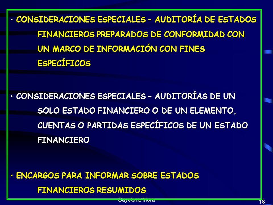 ENCARGOS PARA INFORMAR SOBRE ESTADOS FINANCIEROS RESUMIDOS
