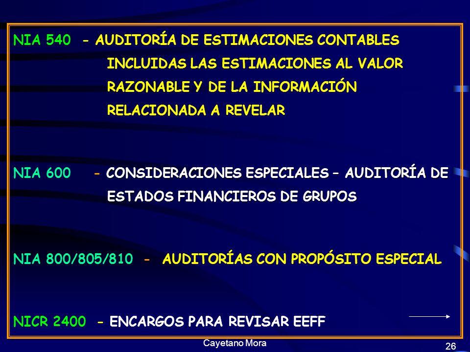 NIA 800/805/810 - AUDITORÍAS CON PROPÓSITO ESPECIAL