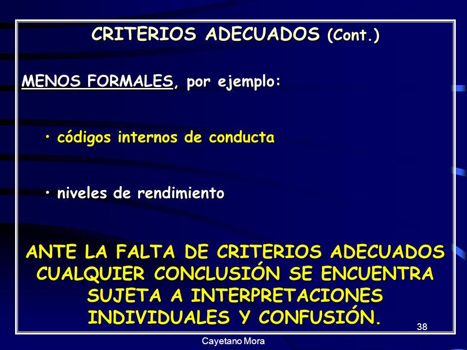 CRITERIOS ADECUADOS (Cont.)