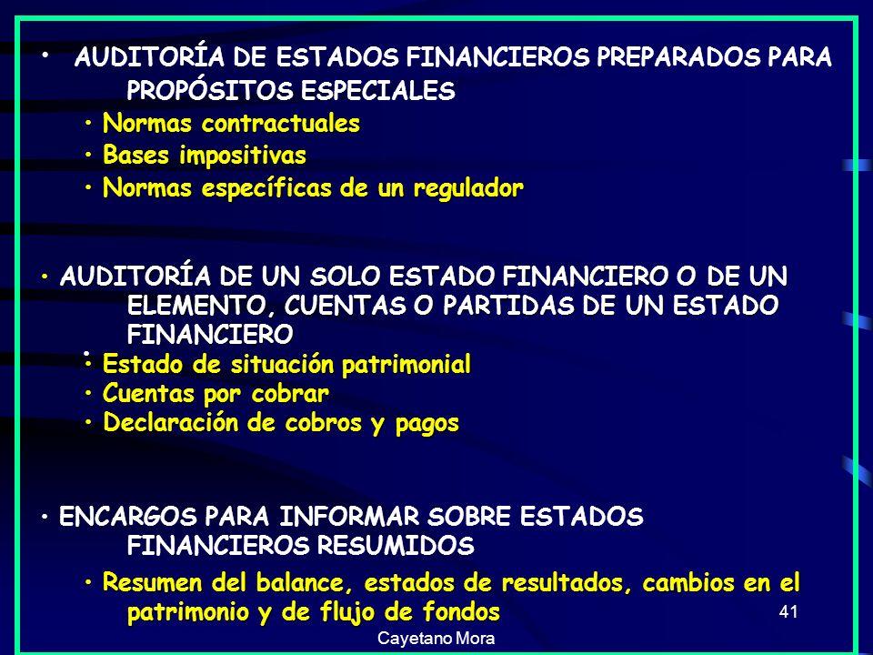 AUDITORÍA DE ESTADOS FINANCIEROS PREPARADOS PARA PROPÓSITOS ESPECIALES