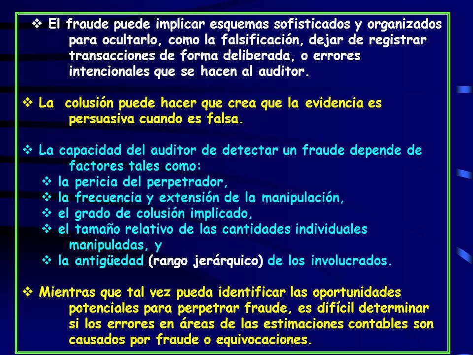 El fraude puede implicar esquemas sofisticados y organizados