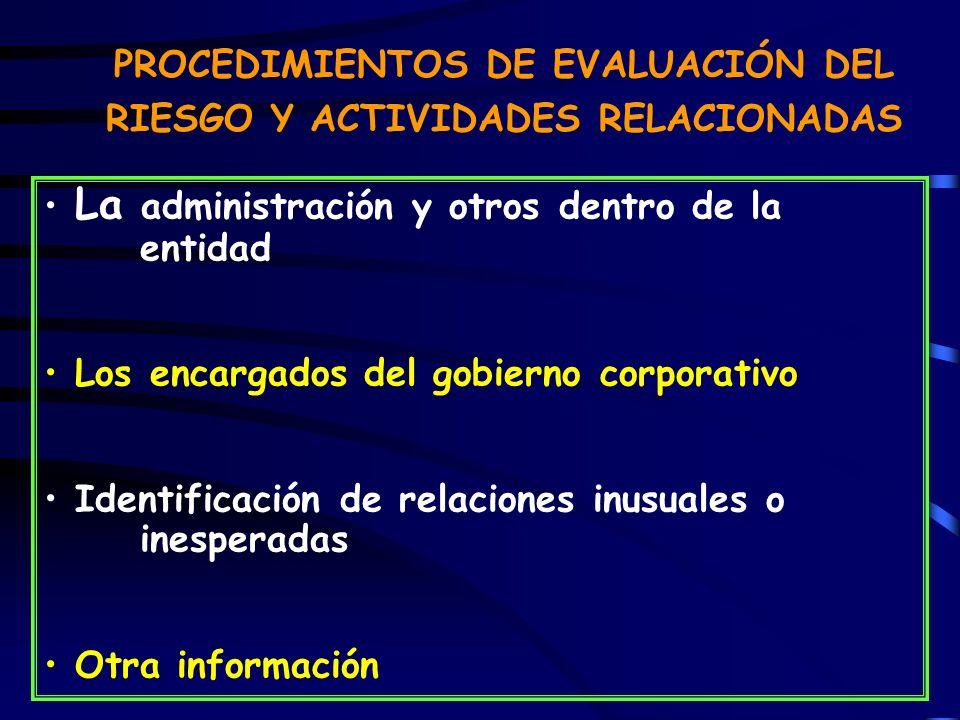PROCEDIMIENTOS DE EVALUACIÓN DEL RIESGO Y ACTIVIDADES RELACIONADAS