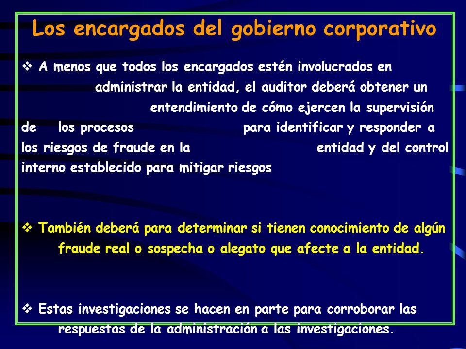 Los encargados del gobierno corporativo