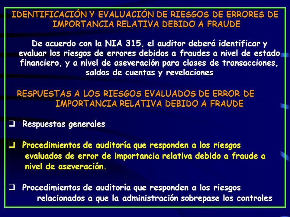 IMPORTANCIA RELATIVA DEBIDO A FRAUDE
