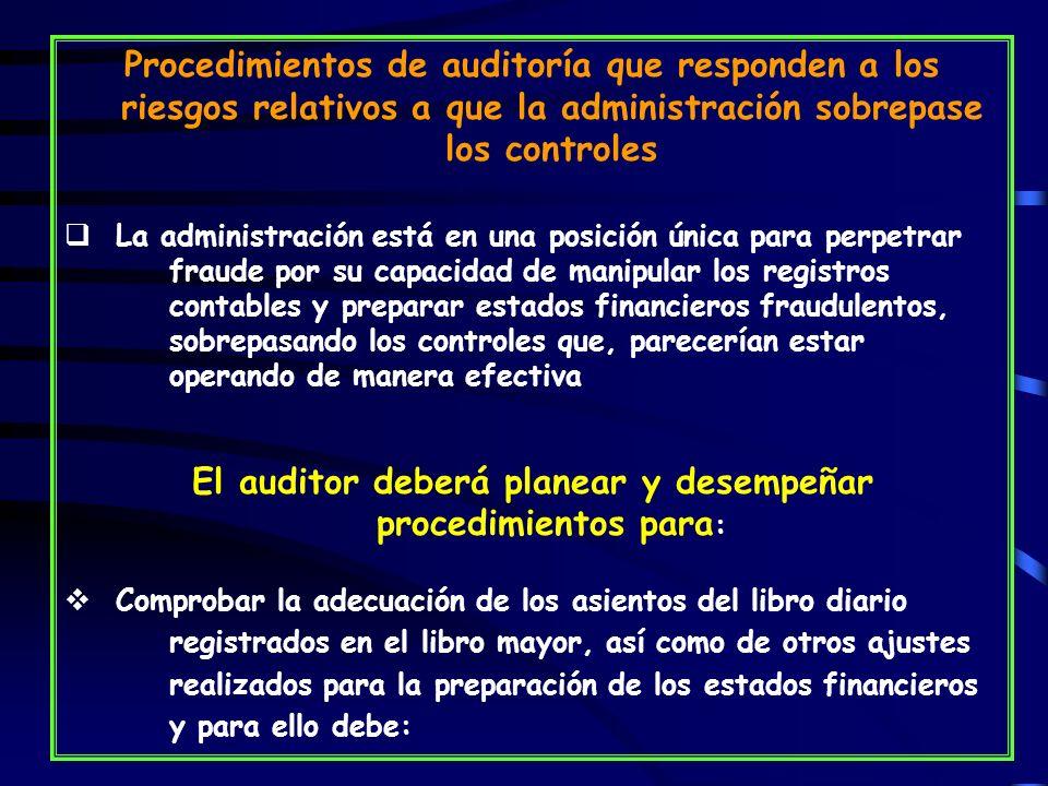 El auditor deberá planear y desempeñar procedimientos para: