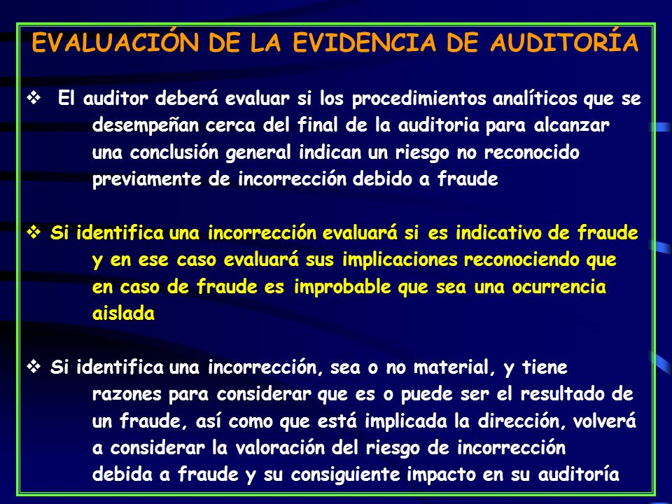 EVALUACIÓN DE LA EVIDENCIA DE AUDITORÍA
