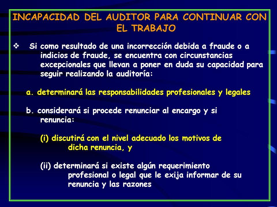 INCAPACIDAD DEL AUDITOR PARA CONTINUAR CON EL TRABAJO