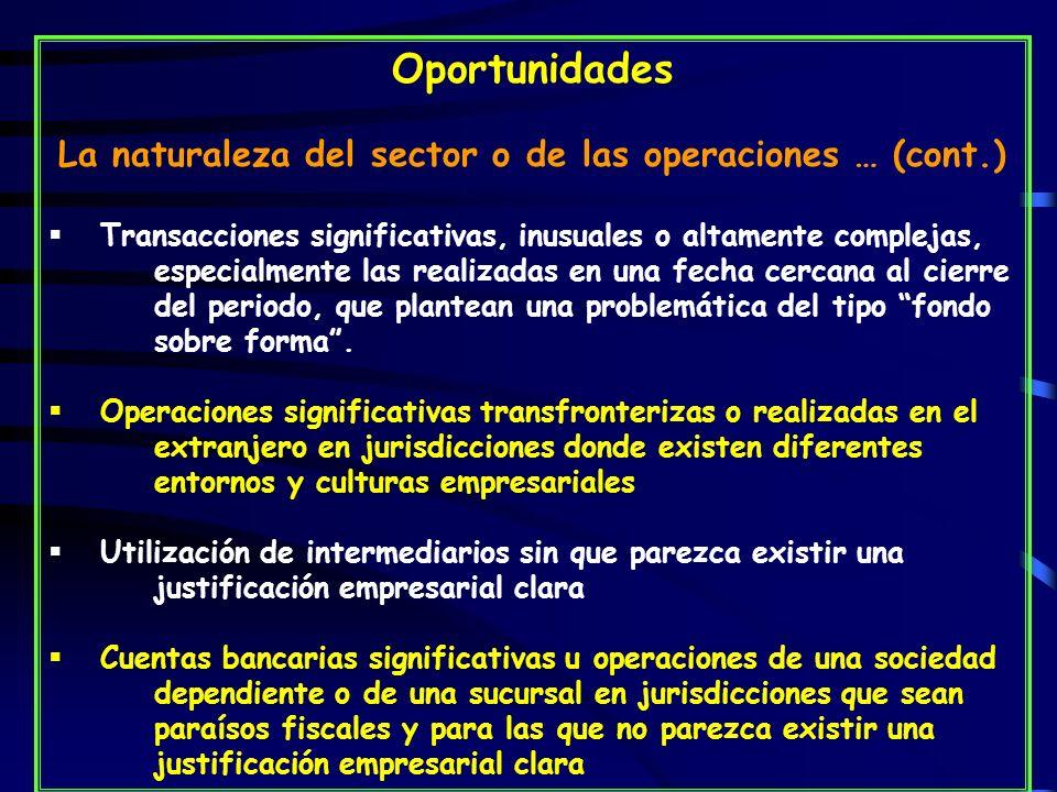 La naturaleza del sector o de las operaciones … (cont.)