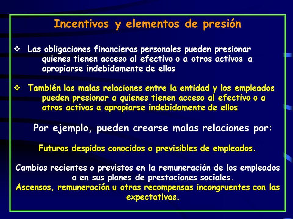 Incentivos y elementos de presión