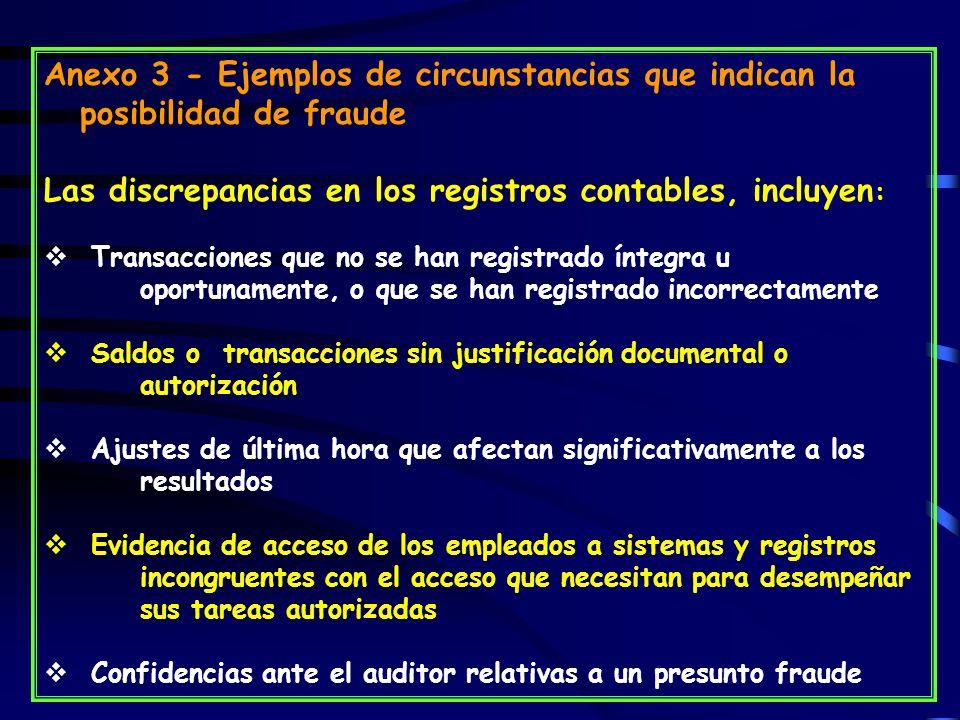Las discrepancias en los registros contables, incluyen:
