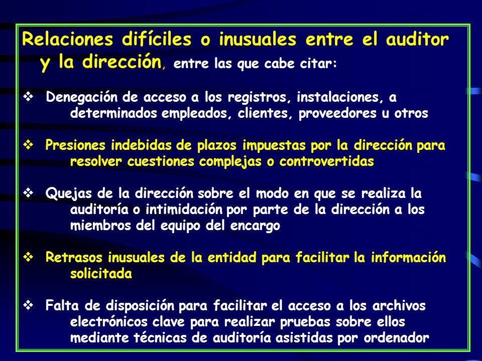 Relaciones difíciles o inusuales entre el auditor y la dirección, entre las que cabe citar: