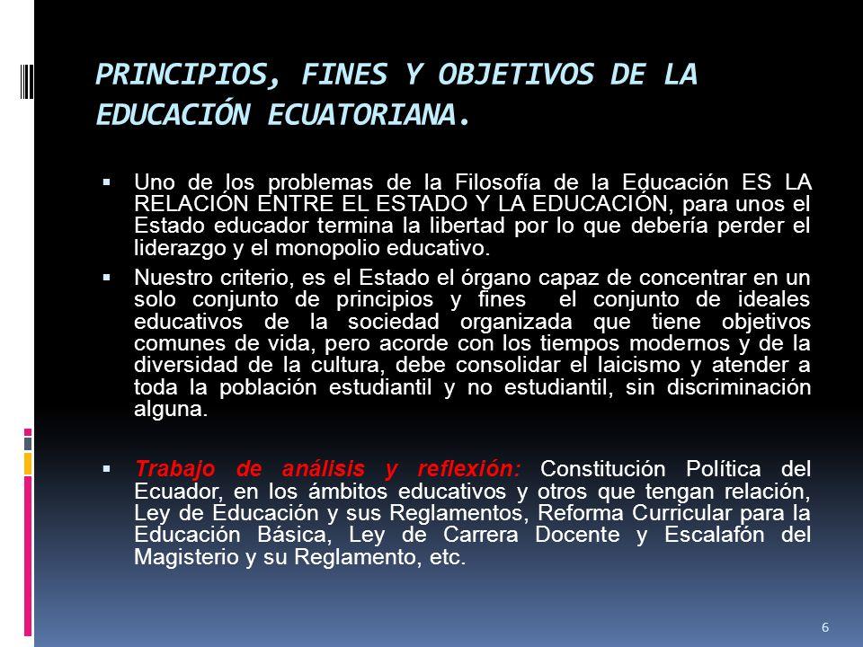 PRINCIPIOS, FINES Y OBJETIVOS DE LA EDUCACIÓN ECUATORIANA.
